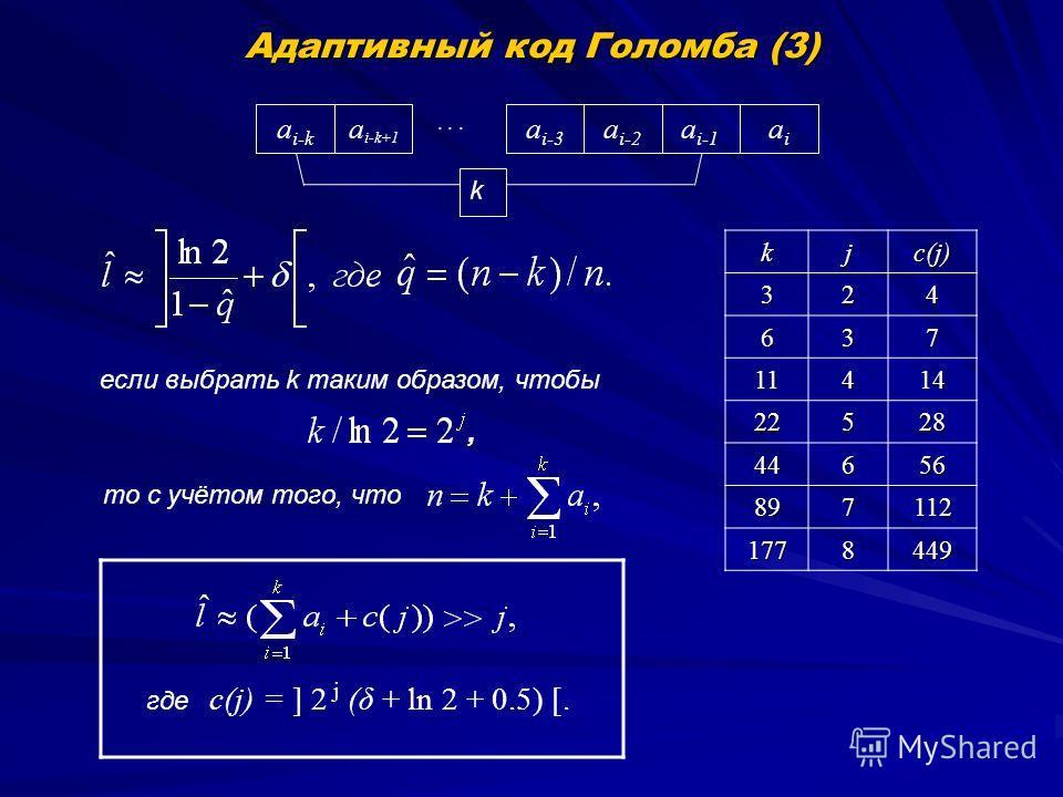 Адаптивный код Голомба (3) a i-1 a i-2 a i-3... a i-k+1 a i-k aiai k с(j) = ] 2 j (δ + ln 2 + 0.5) [.kj c(j) 324 637 11414 22528 44656 897112 1778449 то с учётом того, что если выбрать k таким образом, чтобы, где