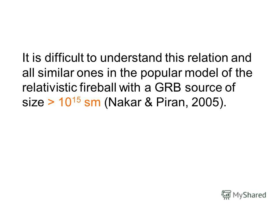 It is difficult to understand this relation and all similar ones in the popular model of the relativistic fireball with a GRB source of size > 10 15 sm (Nakar & Piran, 2005).