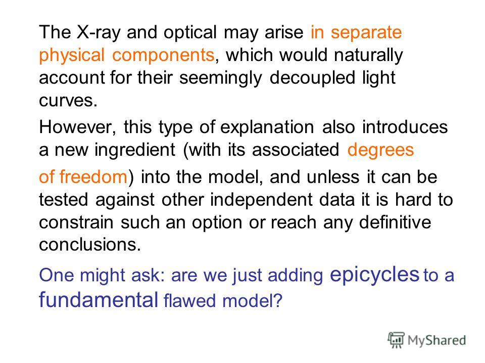 The X-ray and optical may arise in separate physical components, which would naturally account for their seemingly decoupled light curves. However, this type of explanation also introduces a new ingredient (with its associated degrees of freedom) int