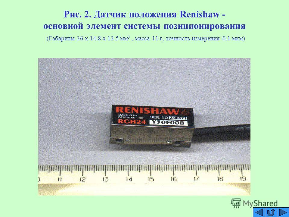 Рис. 2. Датчик положения Renishaw - основной элемент системы позиционирования (Габариты 36 x 14.8 x 13.5 мм 3, масса 11 г, точность измерения 0.1 мкм)