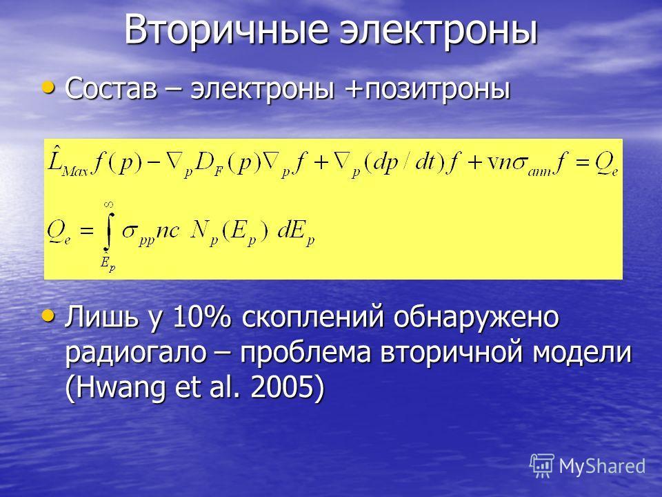 Вторичные электроны Состав – электроны +позитроны Состав – электроны +позитроны Лишь у 10% скоплений обнаружено радиогало – проблема вторичной модели (Hwang et al. 2005) Лишь у 10% скоплений обнаружено радиогало – проблема вторичной модели (Hwang et