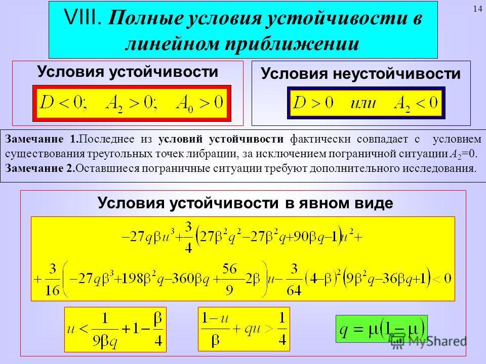 14 VIII. Полные условия устойчивости в линейном приближении Условия устойчивости Замечание 1.Последнее из условий устойчивости фактически совпадает с условием существования треугольных точек либрации, за исключением пограничной ситуации А 2 =0. Замеч