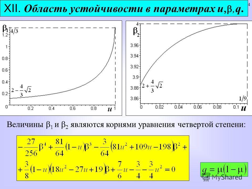 34 XII. Область устойчивости в параметрах u,q. Величины и являются корнями уравнения четвертой степени: