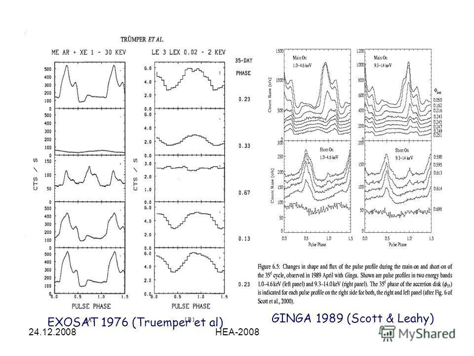 24.12.2008HEA-2008 EXOSAT 1976 (Truemper et al) GINGA 1989 (Scott & Leahy)