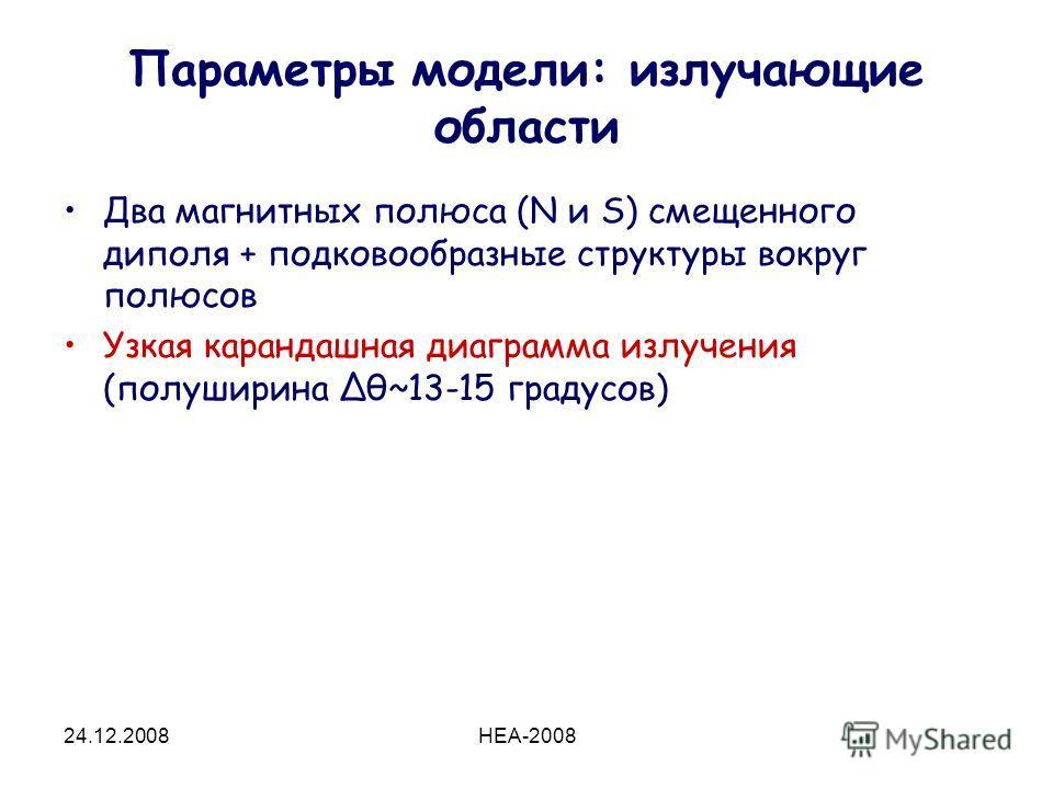 24.12.2008HEA-2008 Параметры модели: излучающие области Два магнитных полюса (N и S) смещенного диполя + подковообразные структуры вокруг полюсов Узкая карандашная диаграмма излучения (полуширина Δθ~13-15 градусов)