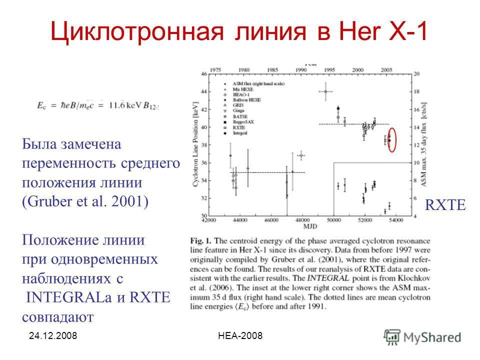 24.12.2008HEA-2008 Циклотронная линия в Her X-1 Была замечена переменность среднего положения линии (Gruber et al. 2001) Положение линии при одновременных наблюдениях с INTEGRALа и RXTE совпадают RXTE