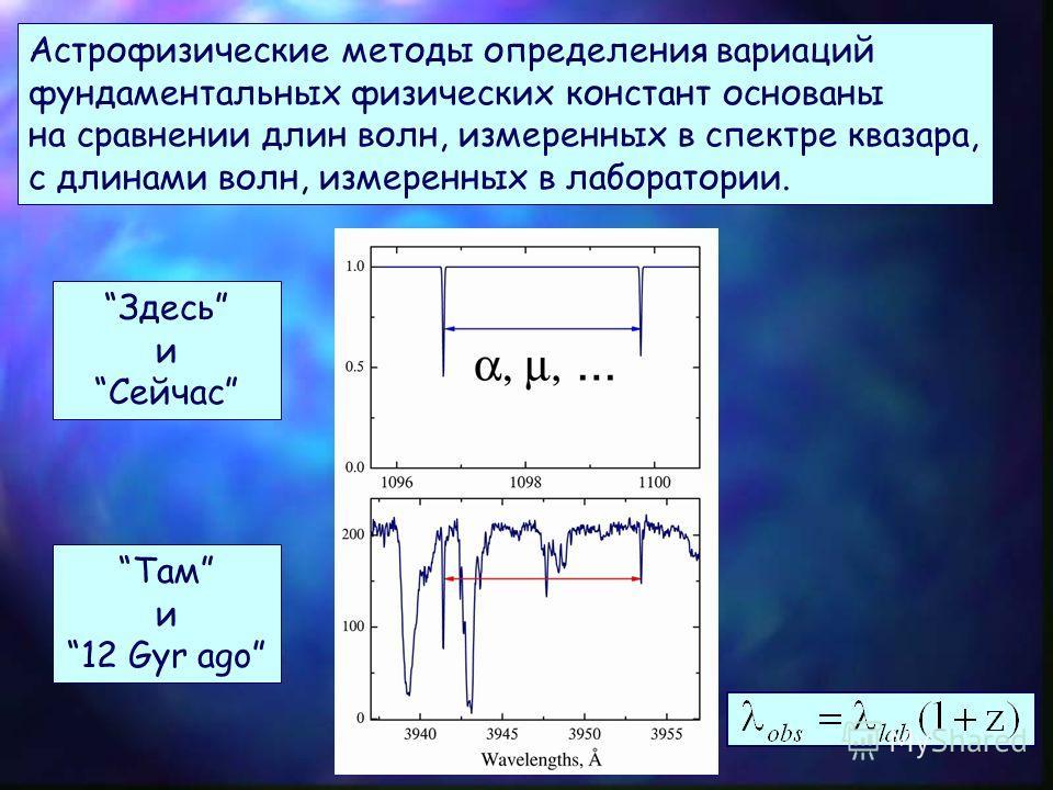 Возможность экспериментальной проверки космологической вариации впервые появилась только после открытия облаков молекулярного водорода H 2 при больших красных смещениях (1985). Сегодня идентифицировано более 100 000 квазаров и только в 12 из них обна