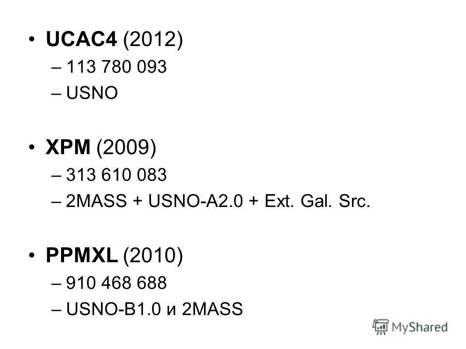 UCAC4 (2012) –113 780 093 –USNO XPM (2009) –313 610 083 –2MASS + USNO-A2.0 + Ext. Gal. Src. PPMXL (2010) –910 468 688 –USNO-B1.0 и 2MASS