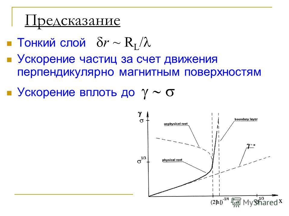 Предсказание Тонкий слой r ~ R L / Ускорение частиц за счет движения перпендикулярно магнитным поверхностям Ускорение вплоть до