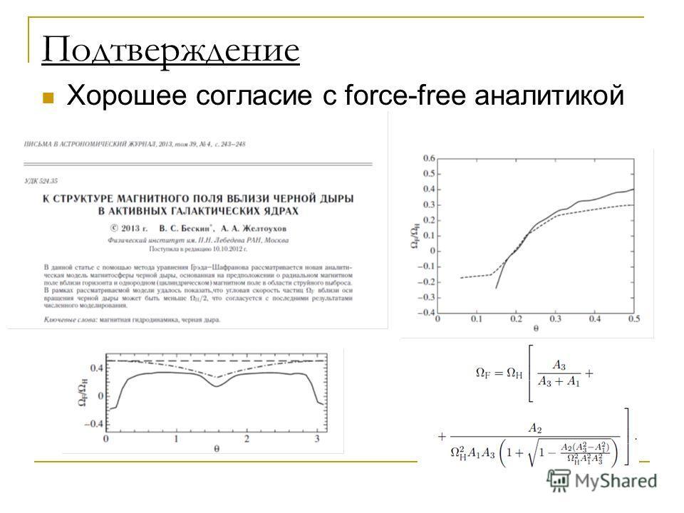 Подтверждение Хорошее согласие с force-free аналитикой
