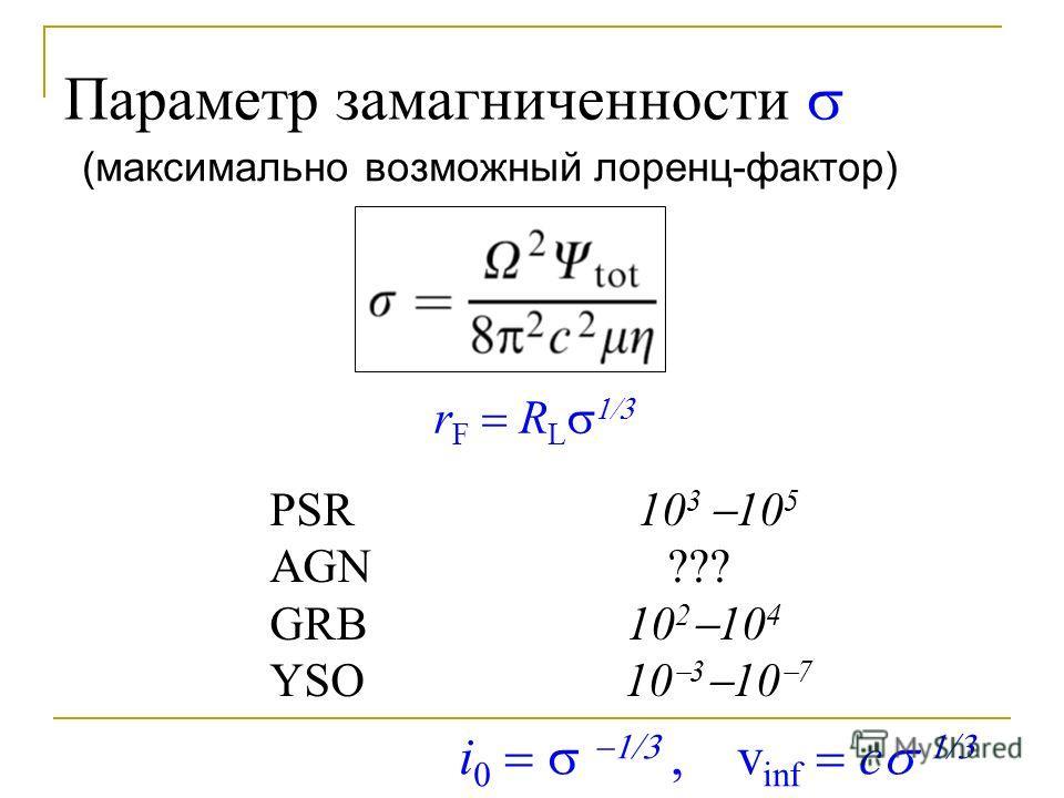 Параметр замагниченности r F R L PSR 10 3 10 5 AGN ??? GRB 10 2 10 4 YSO 10 3 10 7 i v inf c (максимально возможный лоренц-фактор)