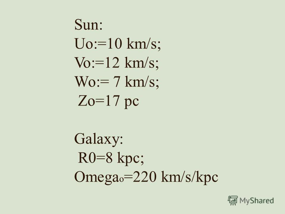 Sun: Uo:=10 km/s; Vo:=12 km/s; Wo:= 7 km/s; Zo=17 pc Galaxy: R0=8 kpc; Omega o =220 km/s/kpc