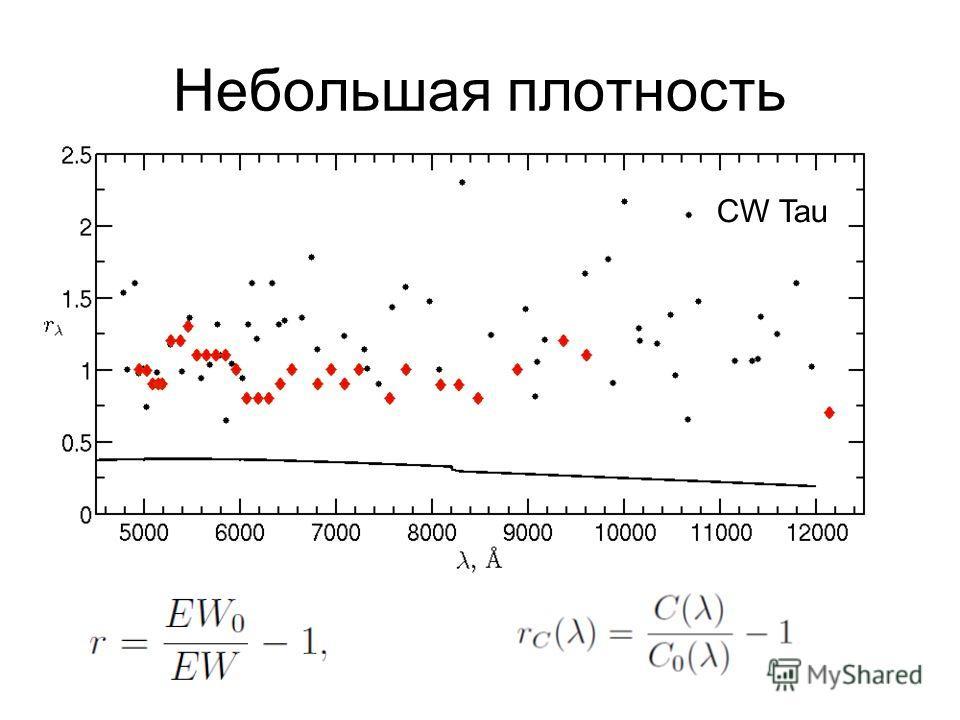 Небольшая плотность CW Tau