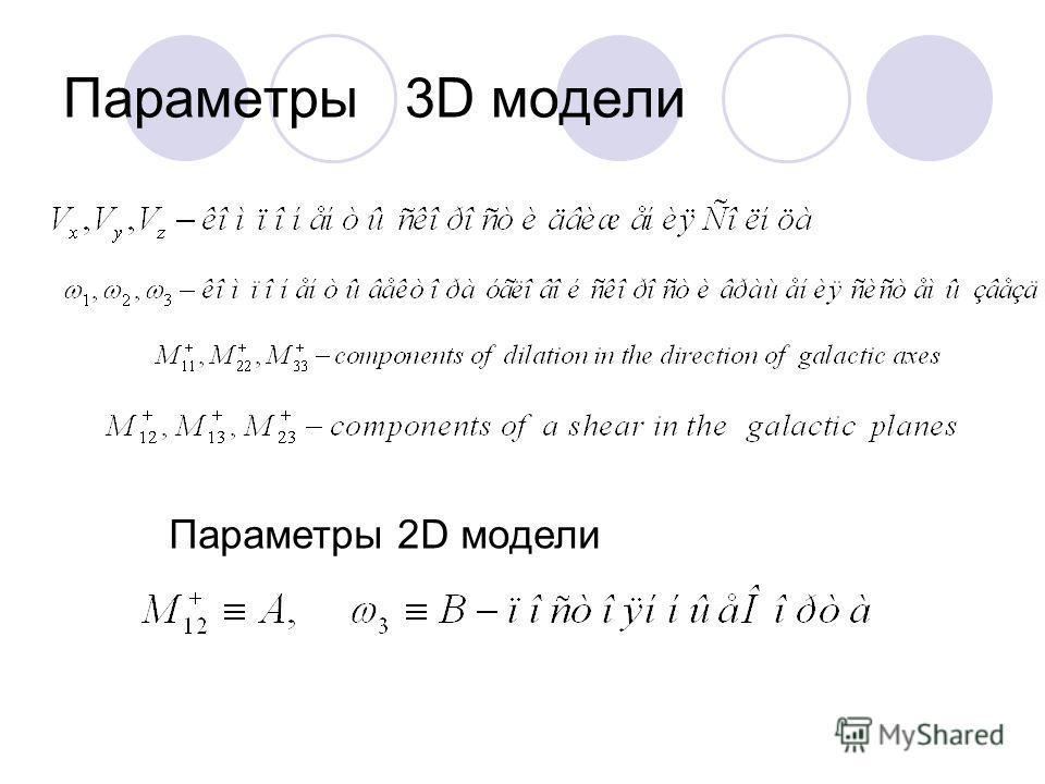 Параметры 3D модели Параметры 2D модели