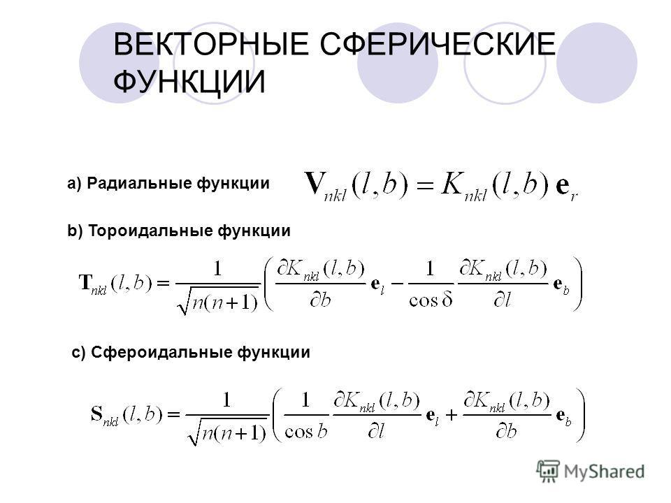 ВЕКТОРНЫЕ СФЕРИЧЕСКИЕ ФУНКЦИИ a) Радиальные функции b) Тороидальные функции c) Сфероидальные функции