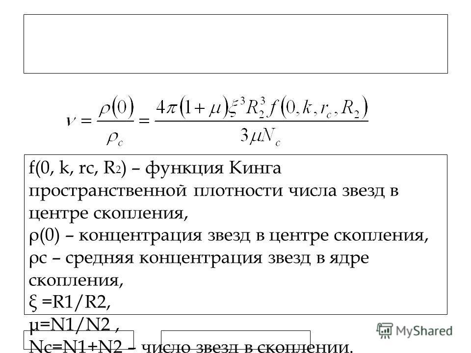11.7.11 Контраст плотностей в ядрах РЗС f(0, k, rc, R 2 ) – функция Кинга пространственной плотности числа звезд в центре скопления, ρ(0) – концентрация звезд в центре скопления, ρс – средняя концентрация звезд в ядре скопления, ξ =R1/R2, μ=N1/N2, Nc