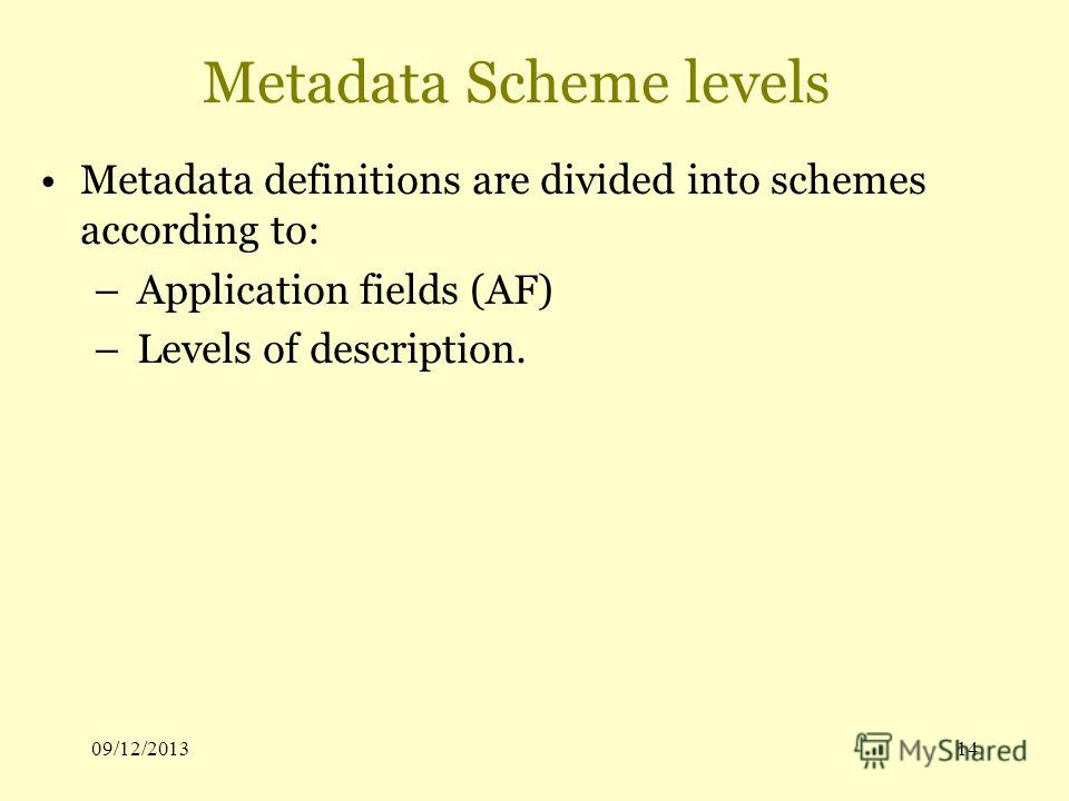 09/12/201314 Metadata Scheme levels Metadata definitions are divided into schemes according to: – Application fields (AF) – Levels of description.