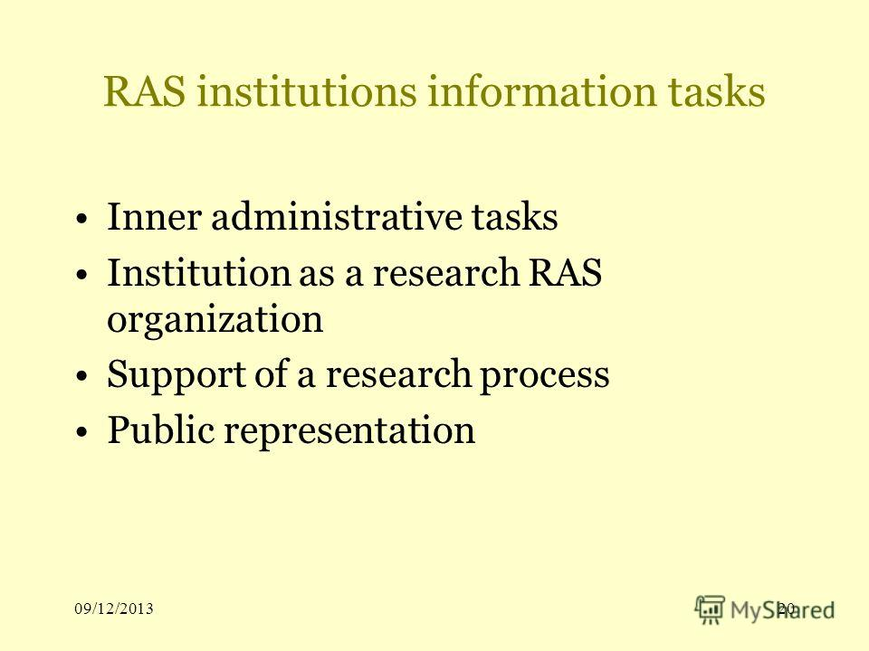 09/12/201320 RAS institutions information tasks Inner administrative tasks Institution as a research RAS organization Support of a research process Public representation