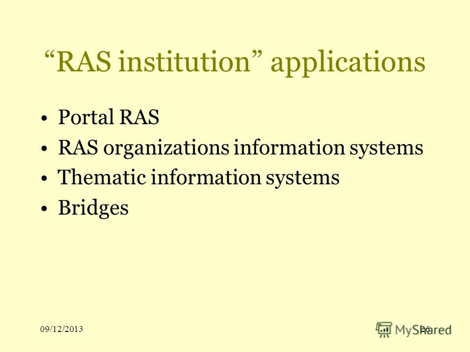 09/12/201326 RAS institution applications Portal RAS RAS organizations information systems Thematic information systems Bridges