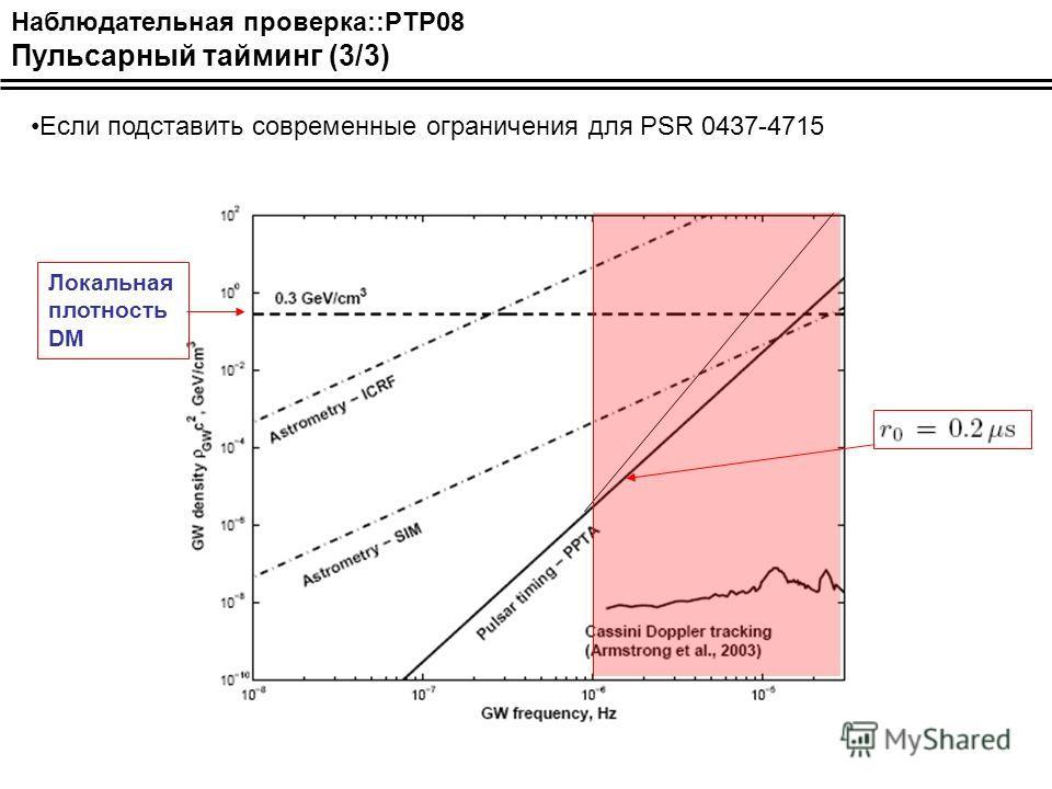 Наблюдательная проверка::PTP08 Пульсарный тайминг (3/3) Если подставить современные ограничения для PSR 0437-4715 Локальная плотность DM