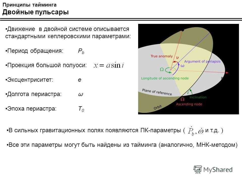 Принципы тайминга Двойные пульсары Движение в двойной системе описывается стандартными кеплеровскими параметрами: Период обращения:P b Проекция большой полуоси: Эксцентриситет:e Долгота периастра: ω Эпоха периастра: T 0 В сильных гравитационных полях