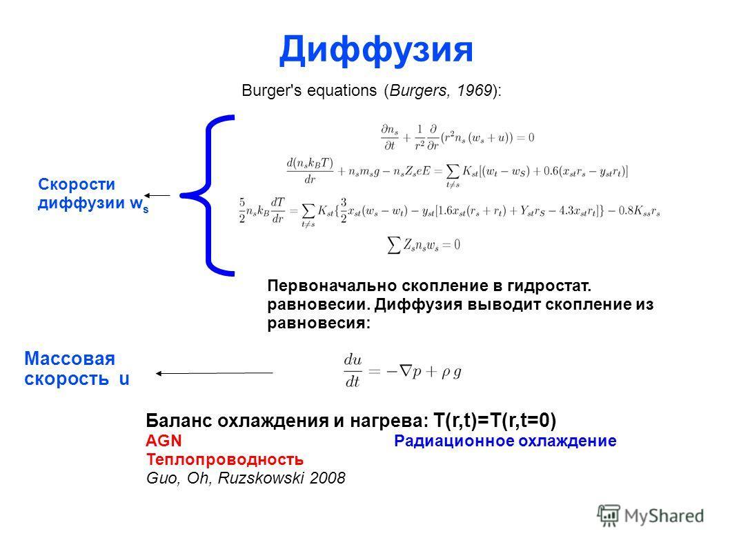 Диффузия Burger's equations (Burgers, 1969): Первоначально скопление в гидростат. равновесии. Диффузия выводит скопление из равновесия: Скорости диффузии w s Массовая скорость u Баланс охлаждения и нагрева: T(r,t)=T(r,t=0) AGN Радиационное охлаждение