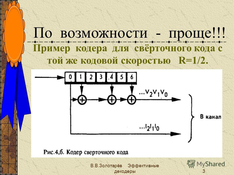 В.В.Золотарёв Эффективные декодеры2 Основное ограничение теории кодирования Всегда должно выполняться условие R