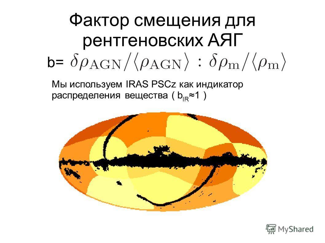 Фактор смещения для рентгеновских АЯГ Мы используем IRAS PSCz как индикатор распределения вещества ( b IR1 ) b=