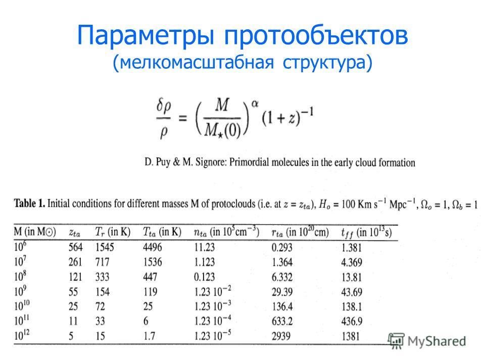 Параметры протообъектов (мелкомасштабная структура)