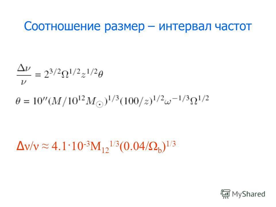 Соотношение размер – интервал частот Δ ν/ν 4.1·10 -3 M 12 1/3 (0.04/Ω b ) 1/3