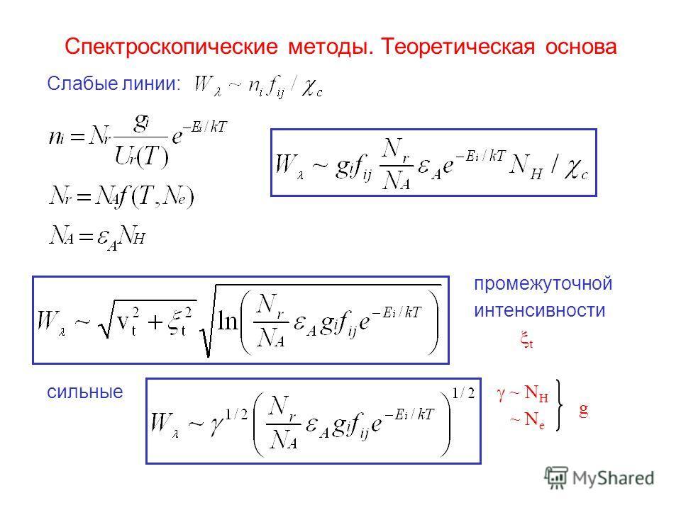 Спектроскопические методы. Теоретическая основа Слабые линии: промежуточной интенсивности t сильные ~ N H ~ N e g