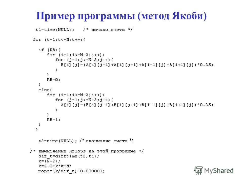 Пример программы (метод Якоби)