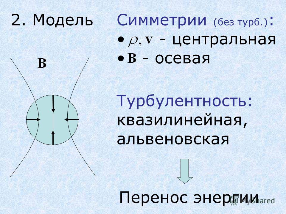 2. МодельСимметрии (без турб.) : - центральная - осевая Турбулентность: квазилинейная, альвеновская Перенос энергии