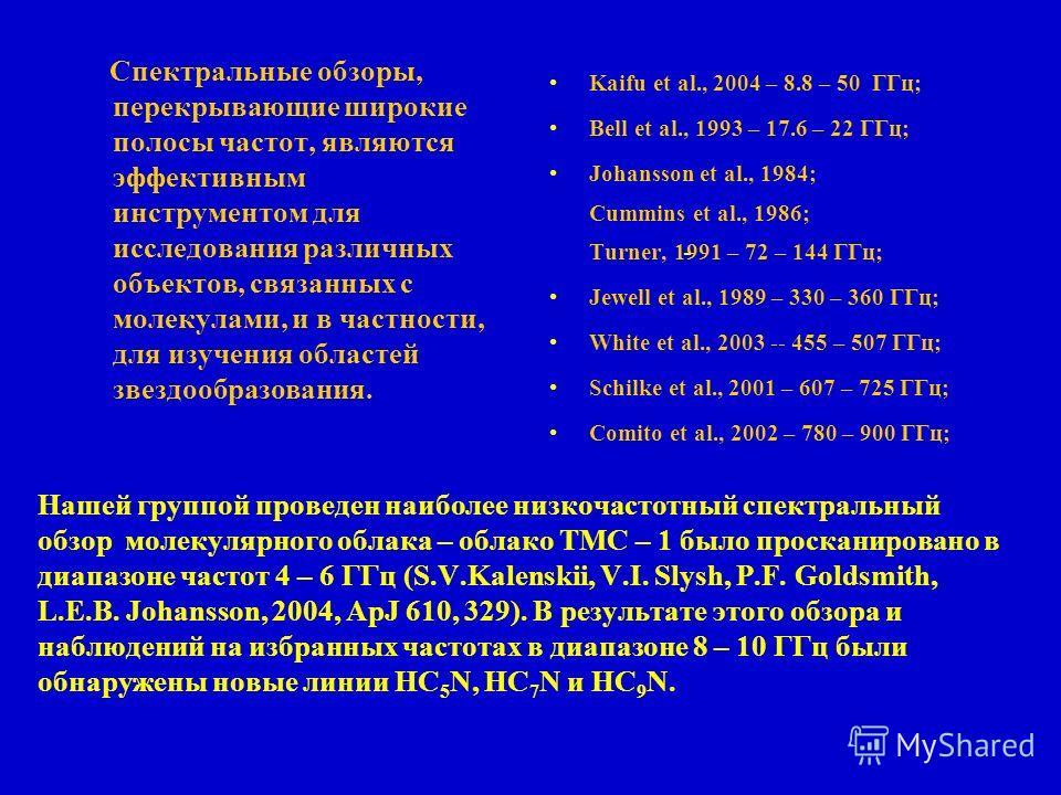 Нашей группой проведен наиболее низкочастотный cпектральный обзор молекулярного облака – облако ТМС – 1 было просканировано в диапазоне частот 4 – 6 ГГц (S.V.Kalenskii, V.I. Slysh, P.F. Goldsmith, L.E.B. Johansson, 2004, ApJ 610, 329). В результате э