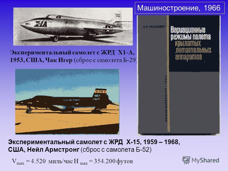 V max = 4.520 миль/час H max = 354.200 футов Экспериментальный самолет с ЖРД X1-A, 1953, США, Чак Игер (сброс с самолета Б-29) Экспериментальный самолет с ЖРД X-15, 1959 – 1968, США, Нейл Армстронг (сброс с самолета Б-52) Машиностроение, 1966
