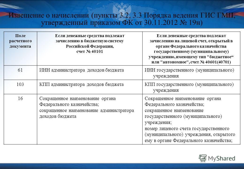 Извещение о начислении (пункты 3.2, 3.3 Порядка ведения ГИС ГМП, утвержденный приказом ФК от 30.11.2012 19н) Поле расчетного документа Если денежные средства подлежат зачислению в бюджетную систему Российской Федерации, счет 40101 Если денежные средс