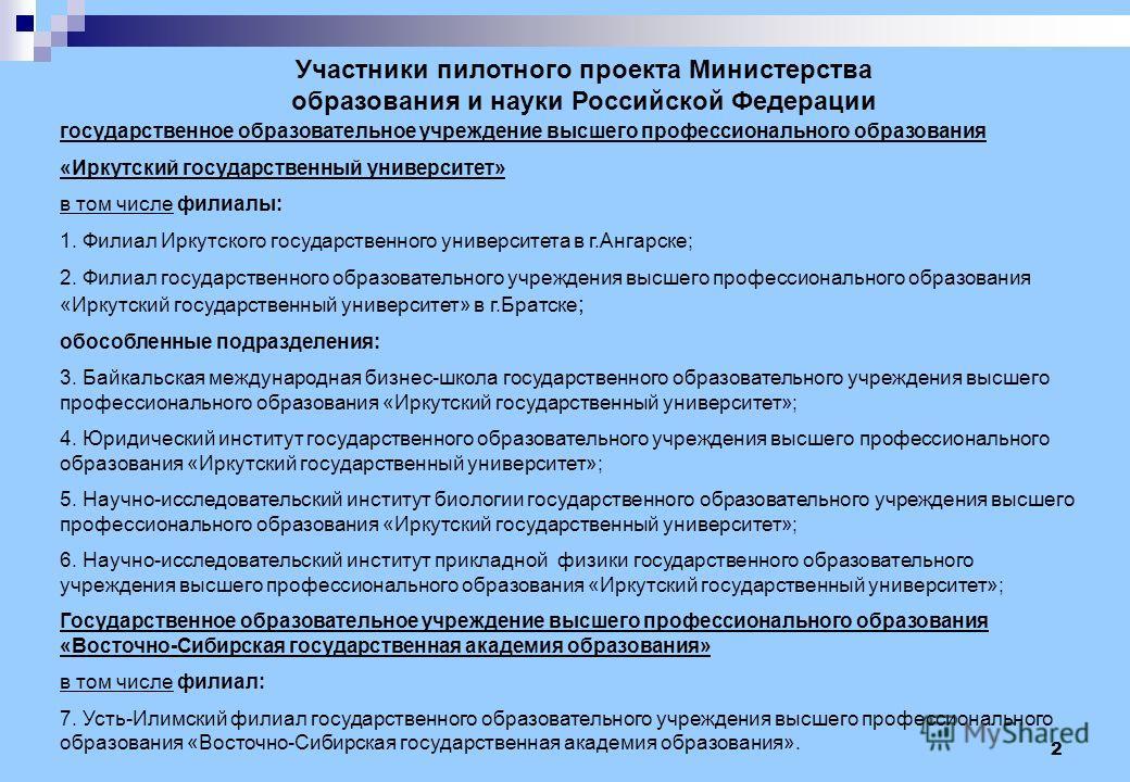 2 Участники пилотного проекта Министерства образования и науки Российской Федерации государственное образовательное учреждение высшего профессионального образования «Иркутский государственный университет» в том числе филиалы: 1. Филиал Иркутского гос