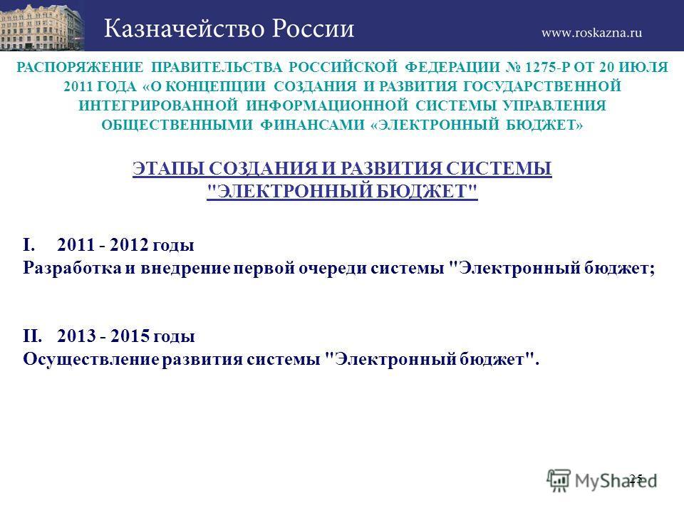 РАСПОРЯЖЕНИЕ ПРАВИТЕЛЬСТВА РОССИЙСКОЙ ФЕДЕРАЦИИ 1275-Р ОТ 20 ИЮЛЯ 2011 ГОДА «О КОНЦЕПЦИИ СОЗДАНИЯ И РАЗВИТИЯ ГОСУДАРСТВЕННОЙ ИНТЕГРИРОВАННОЙ ИНФОРМАЦИОННОЙ СИСТЕМЫ УПРАВЛЕНИЯ ОБЩЕСТВЕННЫМИ ФИНАНСАМИ «ЭЛЕКТРОННЫЙ БЮДЖЕТ» I.2011 - 2012 годы Разработка