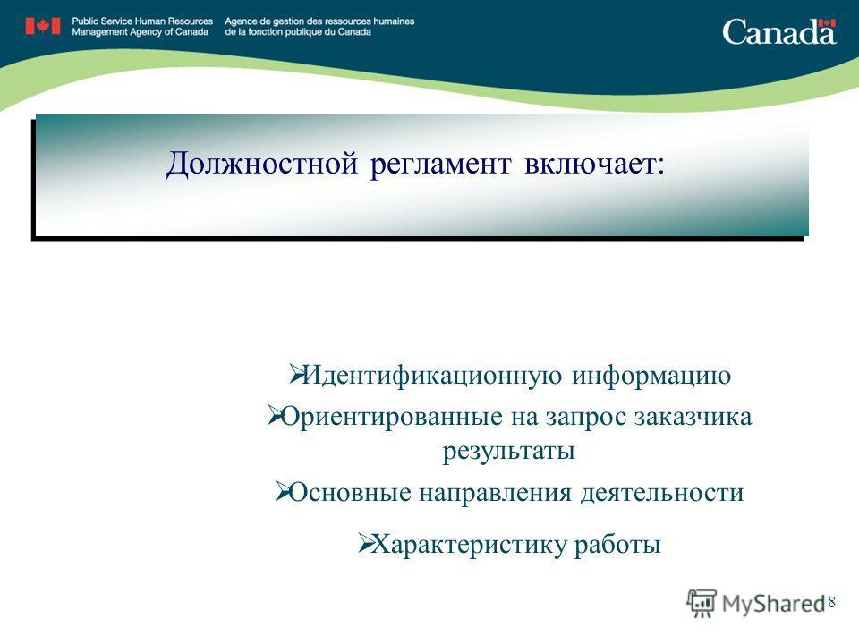 8 Должностной регламент включает: Идентификационную информацию Ориентированные на запрос заказчика результаты Основные направления деятельности Характеристику работы