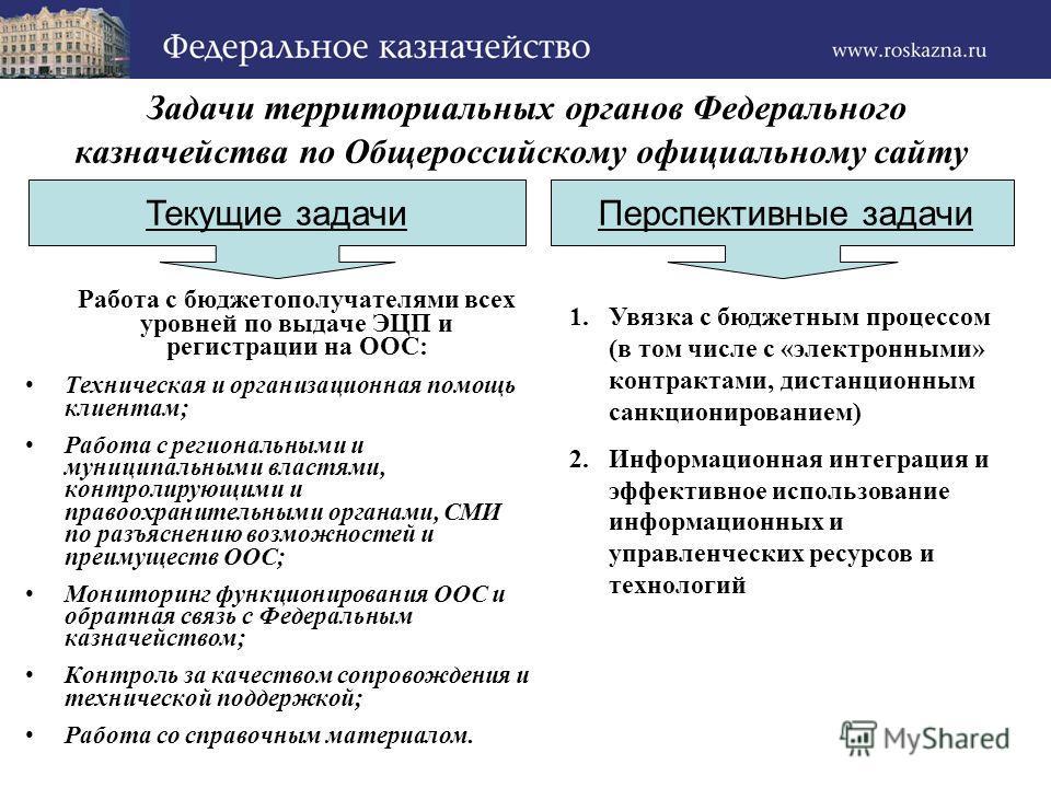 Задачи территориальных органов Федерального казначейства по Общероссийскому официальному сайту Работа с бюджетополучателями всех уровней по выдаче ЭЦП и регистрации на ООС: Техническая и организационная помощь клиентам; Работа с региональными и муниц