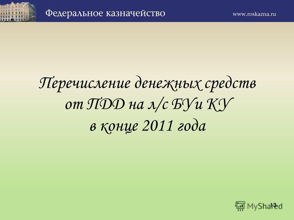 13 Перечисление денежных средств от ПДД на л/с БУи КУ в конце 2011 года