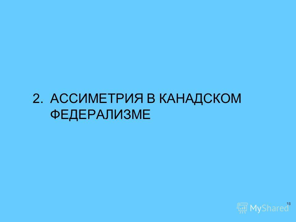 18 2.АССИМЕТРИЯ В КАНАДСКОМ ФЕДЕРАЛИЗМЕ