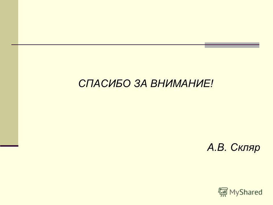 СПАСИБО ЗА ВНИМАНИЕ! А.В. Скляр
