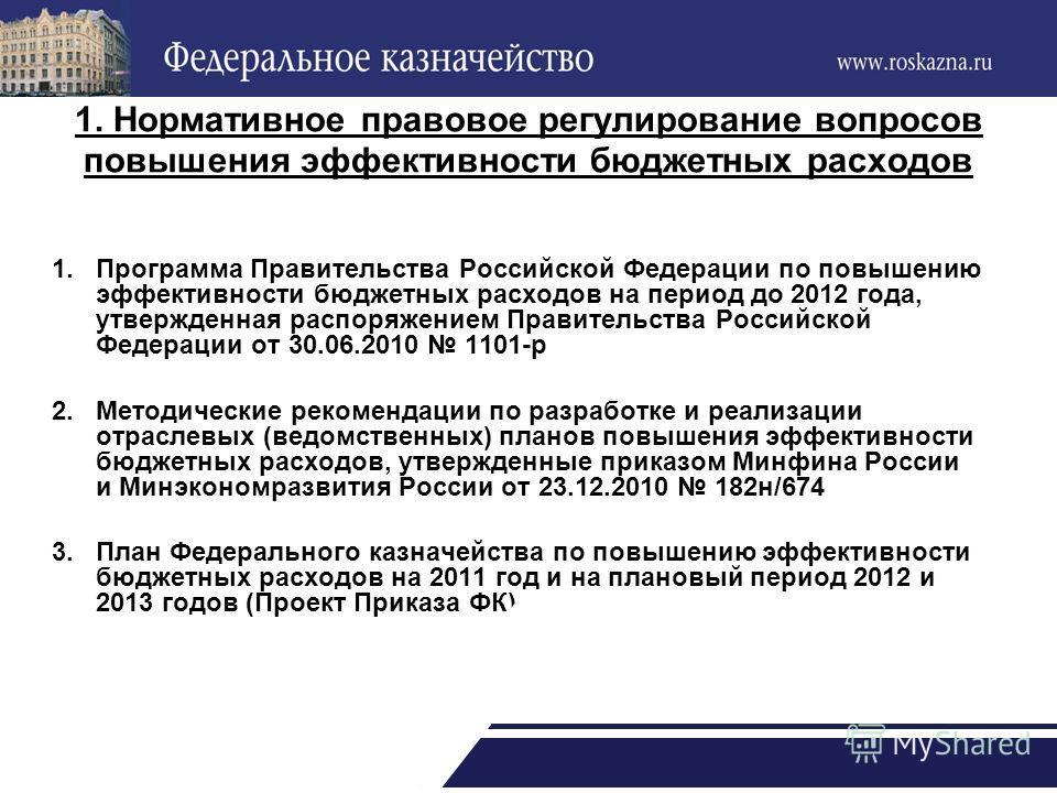 1. Нормативное правовое регулирование вопросов повышения эффективности бюджетных расходов 1.Программа Правительства Российской Федерации по повышению эффективности бюджетных расходов на период до 2012 года, утвержденная распоряжением Правительства Ро
