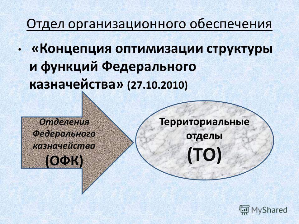 Отдел организационного обеспечения «Концепция оптимизации структуры и функций Федерального казначейства» (27.10.2010) Отделения Федерального казначейства (ОФК) Территориальные отделы (ТО)