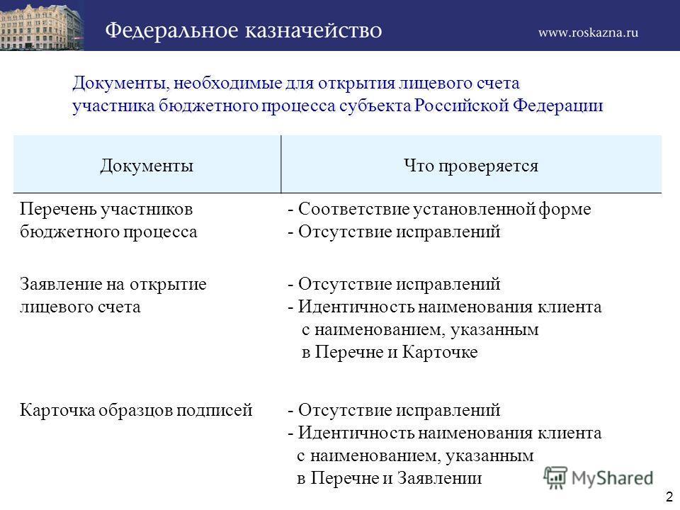 2 Документы, необходимые для открытия лицевого счета участника бюджетного процесса субъекта Российской Федерации Документы, необходимые для открытия лицевого счета участника бюджетного процесса субъекта Российской Федерации ДокументыЧто проверяется П