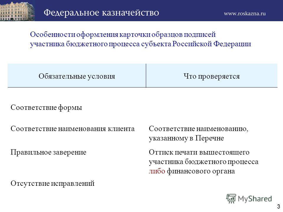 3 Особенности оформления карточки образцов подписей участника бюджетного процесса субъекта Российской Федерации Особенности оформления карточки образцов подписей участника бюджетного процесса субъекта Российской Федерации Обязательные условияЧто пров