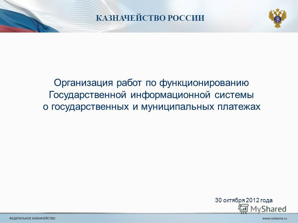 КАЗНАЧЕЙСТВО РОССИИ Организация работ по функционированию Государственной информационной системы о государственных и муниципальных платежах 30 октября 2012 года