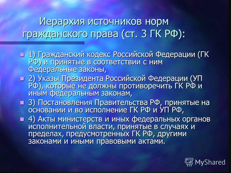 Иерархия источников норм гражданского права (ст. 3 ГК РФ): 1) Гражданский кодекс Российской Федерации (ГК РФ) и принятые в соответствии с ним Федеральные законы, 1) Гражданский кодекс Российской Федерации (ГК РФ) и принятые в соответствии с ним Федер