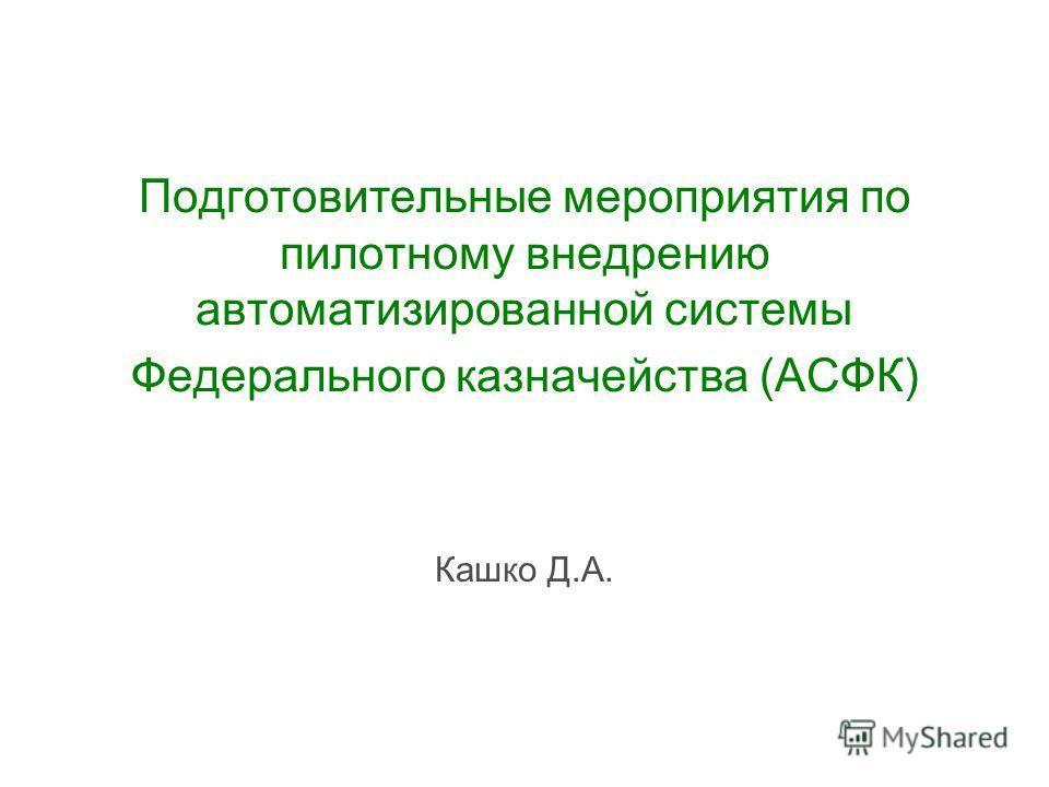 Подготовительные мероприятия по пилотному внедрению автоматизированной системы Федерального казначейства (АСФК) Кашко Д.А.